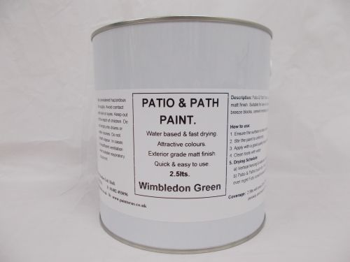 2.5lt Patio, Path & Paving Slab Paint Garden BBQ Tarmac - Wimbledon Green