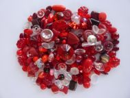 250 Mixed Glass Acrylic Jewellery Making Craft Beads Cranberry