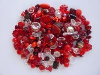 250 Mixed Glass Acrylic Jewellery Making Craft Beads Cranberry