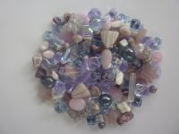 250 Mixed Glass Acrylic Jewellery Making Craft Beads Violet Petal